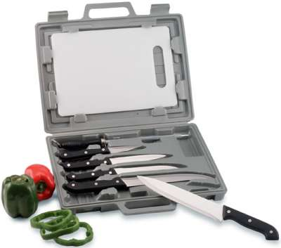 Chef Knife  on Maxam Knife Set With Cutting Board In Case Be A Chef On The Go With